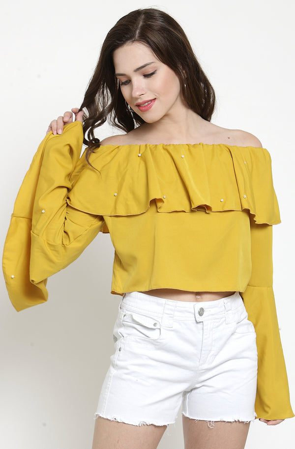 Yellow Crop Top with Bell Sleeves by Afamado