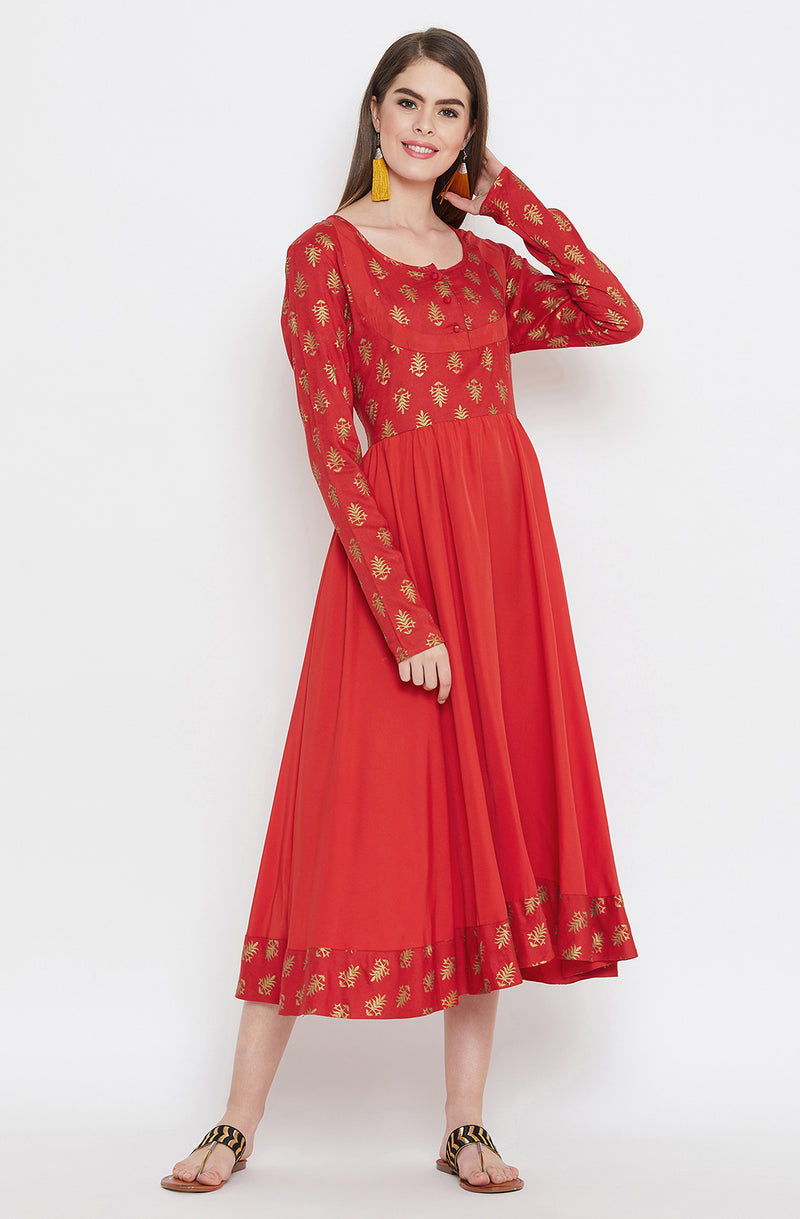 Motif Printed Anarkali Dress by Afamado