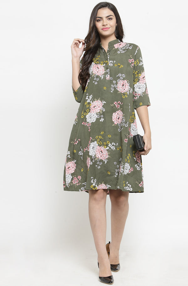 Floral Green Cotton A-Line Casual Dress by Afamado