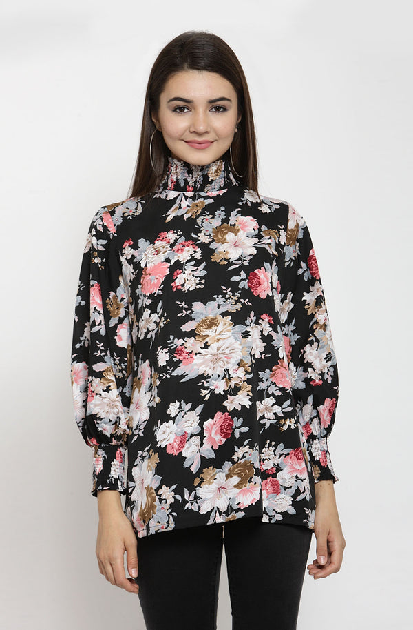 Black Printed Top by Afamado