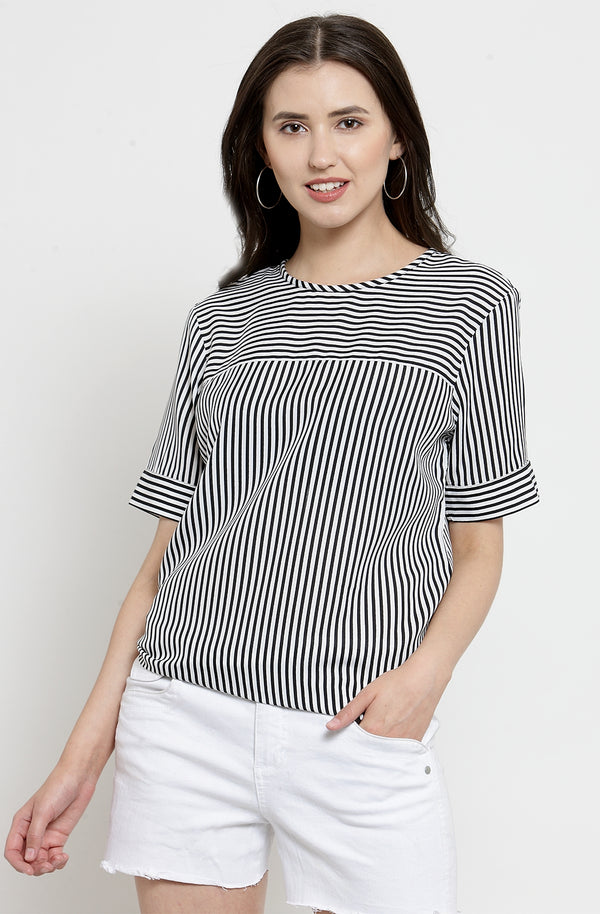 Mixed Stripe Casual Top