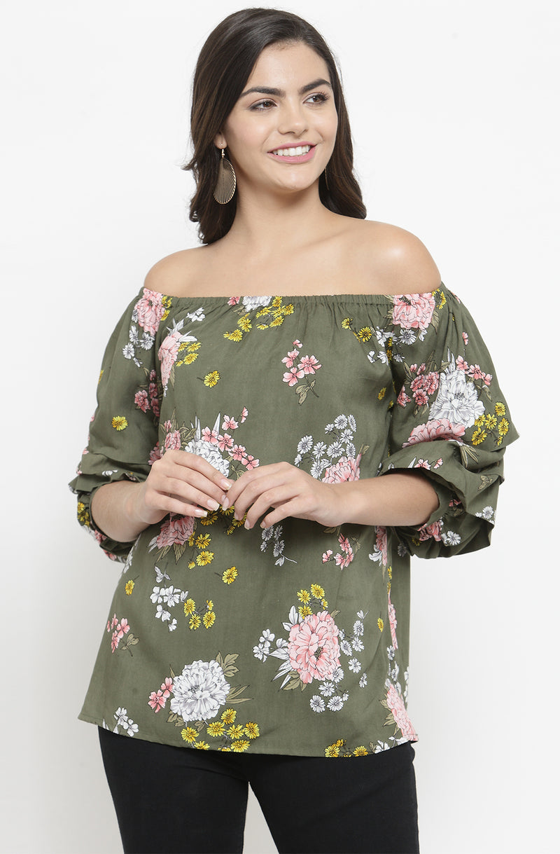 Floral Print Off-Shoulder Cotton Top by Afamado