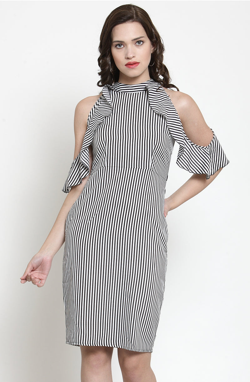 Ruffle Pin-Stripe Bodycon Dress