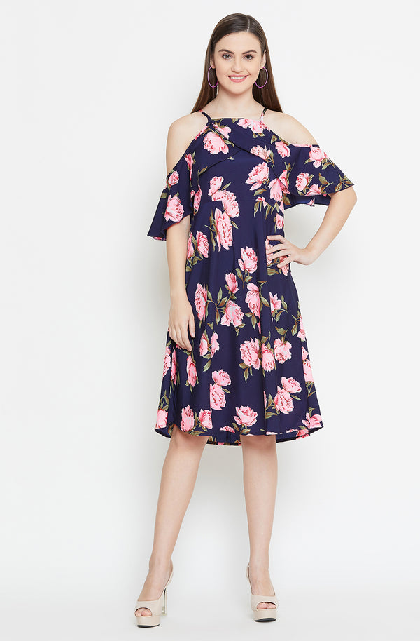 Overlap Cape Cold Shoulder Printed Dress