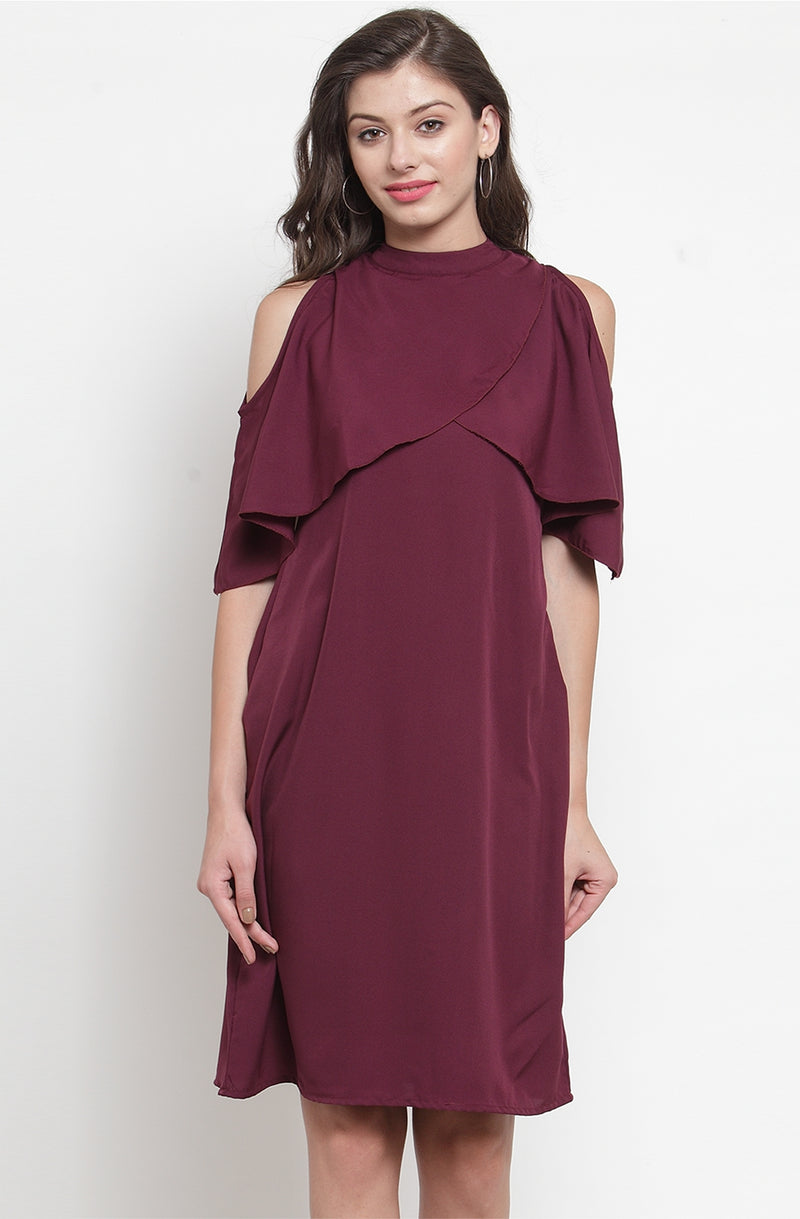 Wine Color Straight-Fit Party Dress