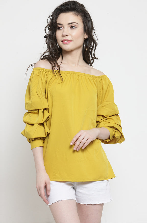 Ruffled Sleeve Off-Shoulder Top