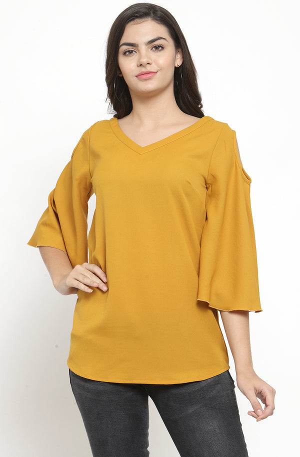 Flare Sleeve Cold Shoulder Top