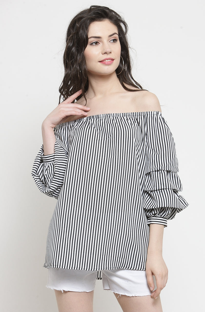 Striped Ruffled Sleeve Top