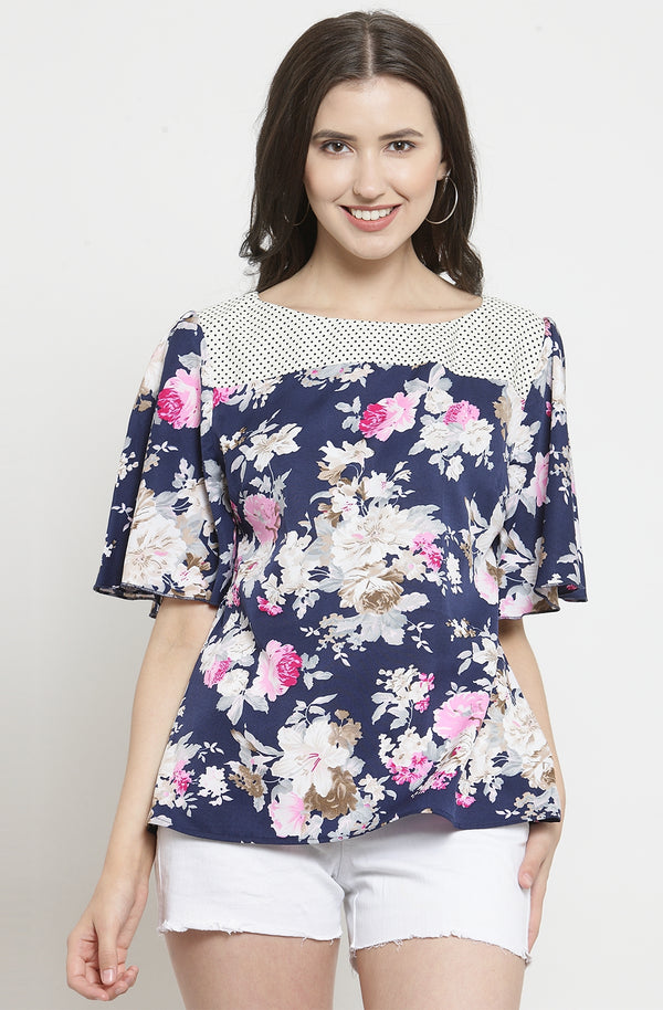 Floral Print Top with Contrast Yoke