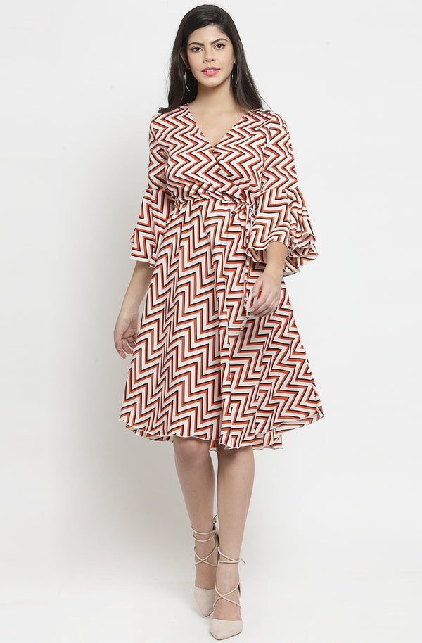 Geometric Print V-Neck Dress