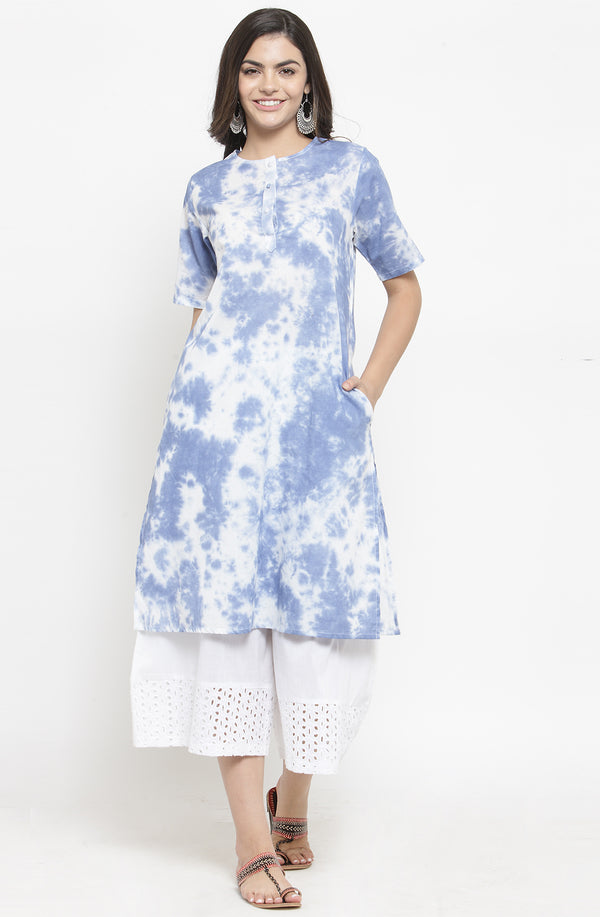 Tie & Dye Kurta with White Culottes by Afamado