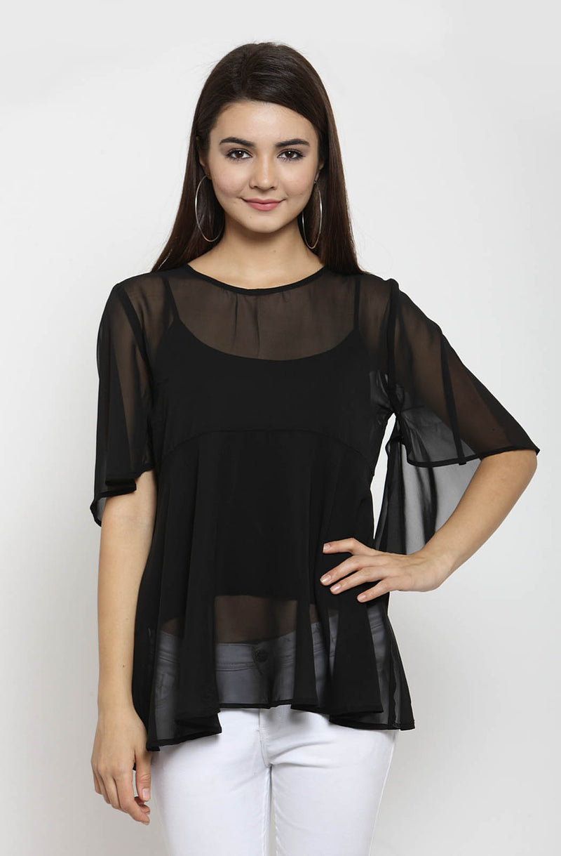 Black Flared Top