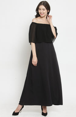 Black Off-Shoulder Layered Maxi Dress by Afamado