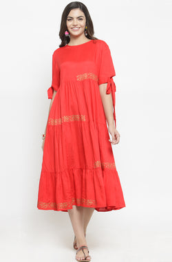 Red Midi Dress with Contrast Motifs by Afamado