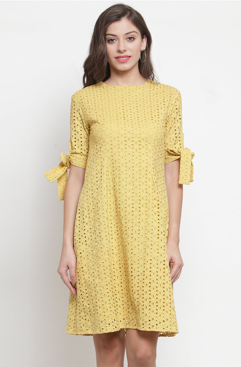 Faded Schiffly A-Line Dress