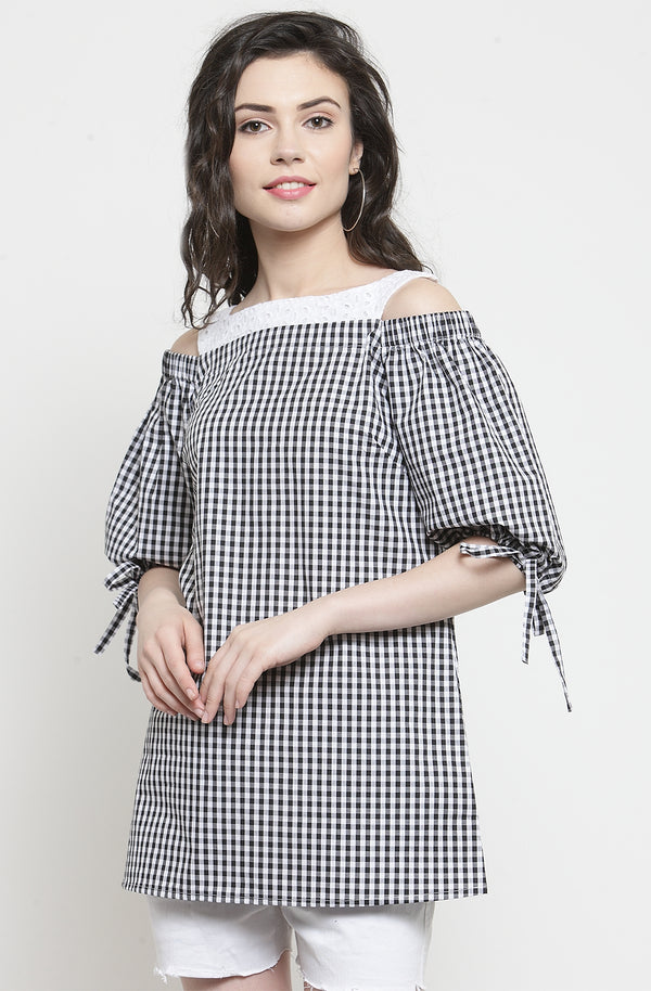 Ginghan Print Tie sleeve Top