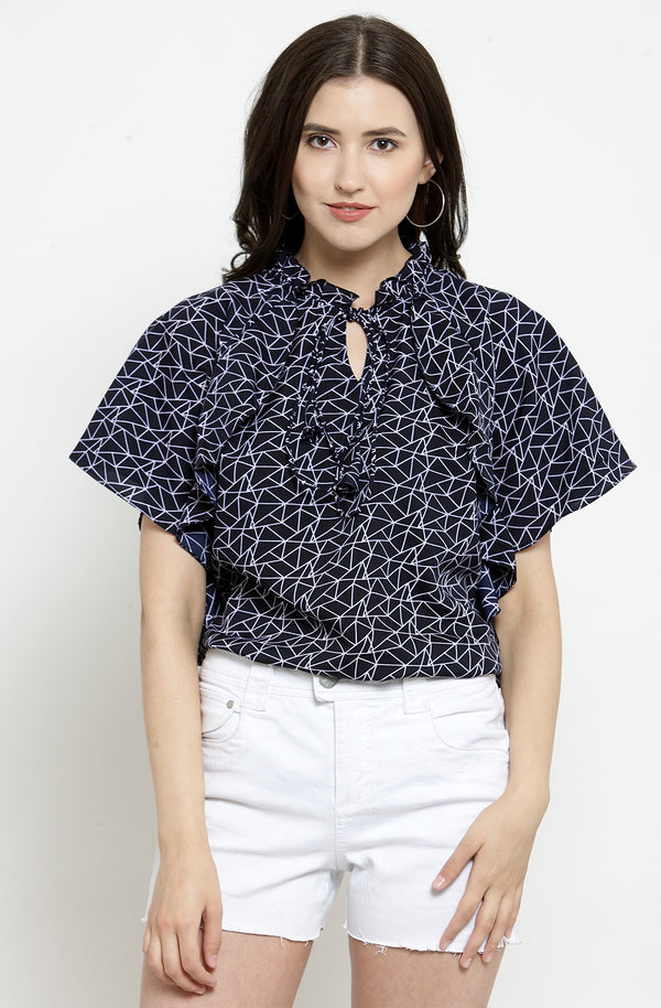 Geometric Print Navy Blue Top