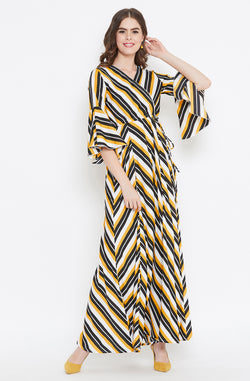 Striped Maxi Dress with Flared Sleeves by Afamado