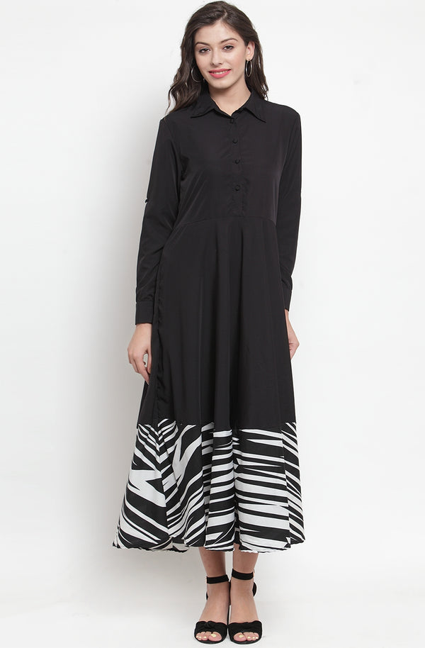 Black & Zebra Printed A-line Maxi Dress