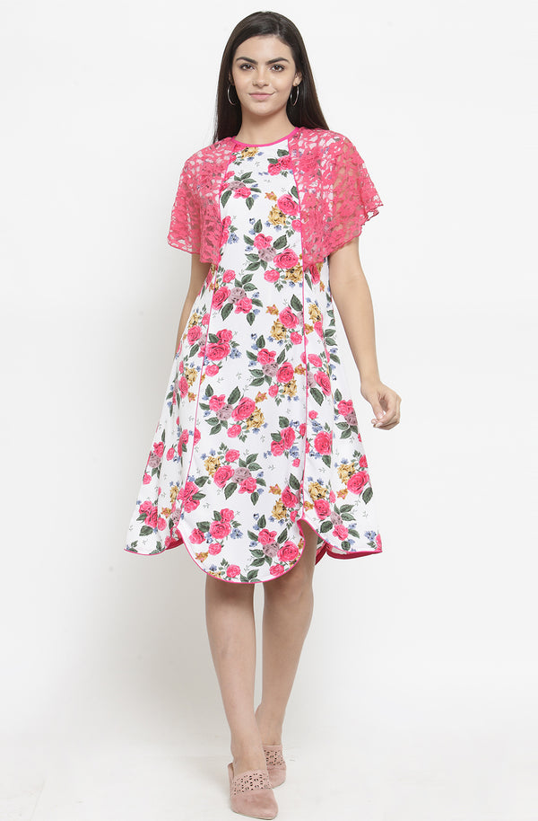 Asymmetric Floral Dress