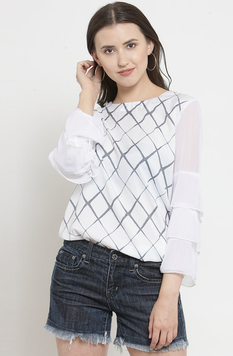 Diamond Checked Top with Ruffle Sleeves