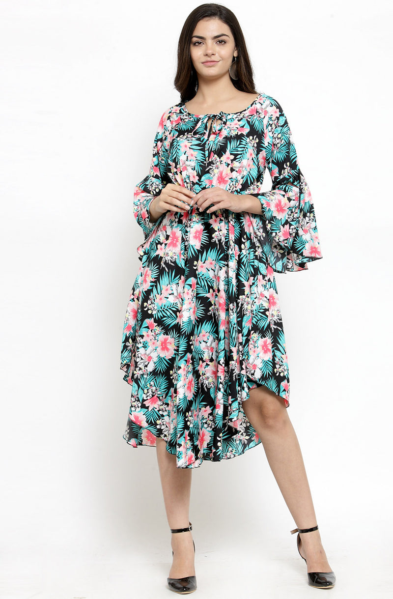 Floral Fit and Flare Dress by Afamado