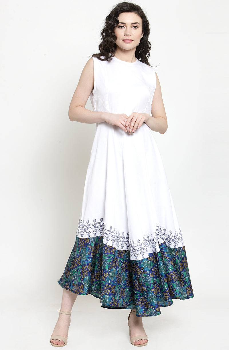 White Sleeveless Gown with Contrast Hem