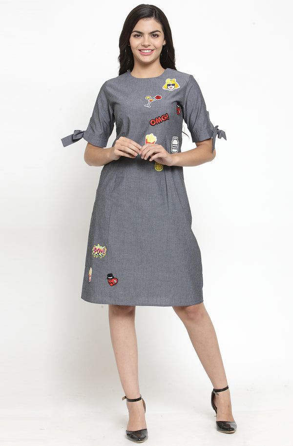 Quirky Pop-Style Chambray Dress