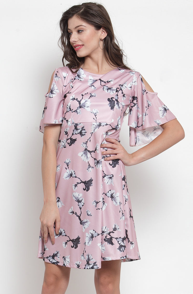 Cold-Shoulder Floral Dress