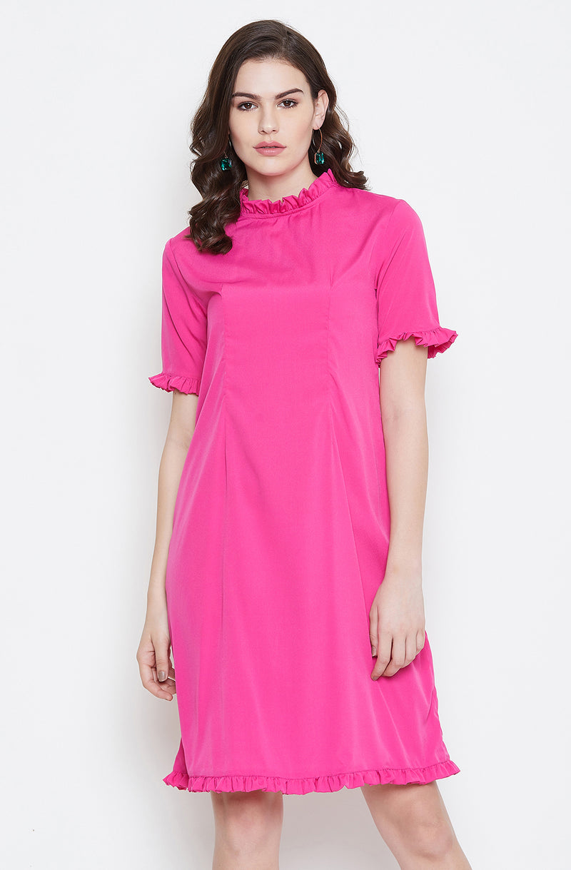 Pink Straight Fit  Ruffle Details  Dress