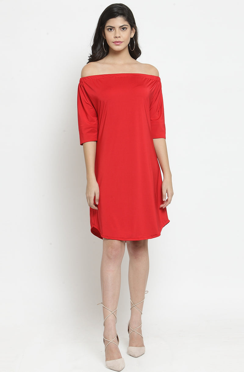 Elbow Sleeves Off-Shoulder A-Line Dress by Afamado