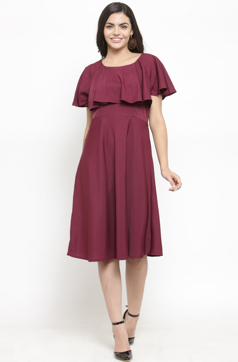 Ruffled Neckline Solid Dress