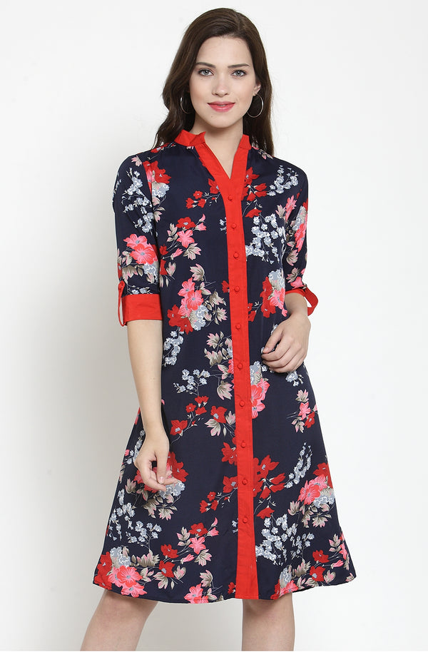 Tropical Print Knee-Length Dress