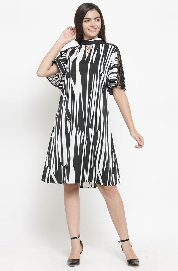Monochrome A-Line Party Dress