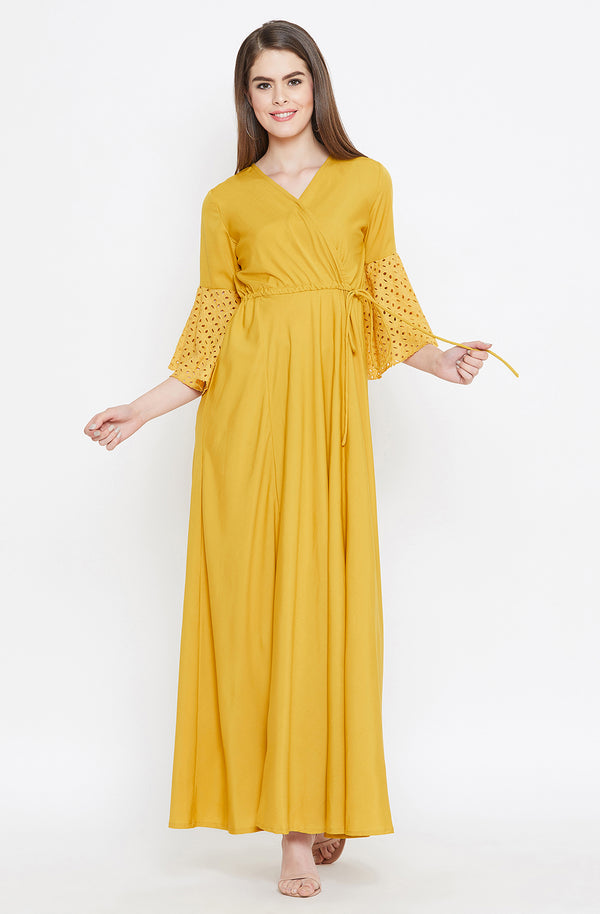 Solid Mustard Maxi Dress by Afamado