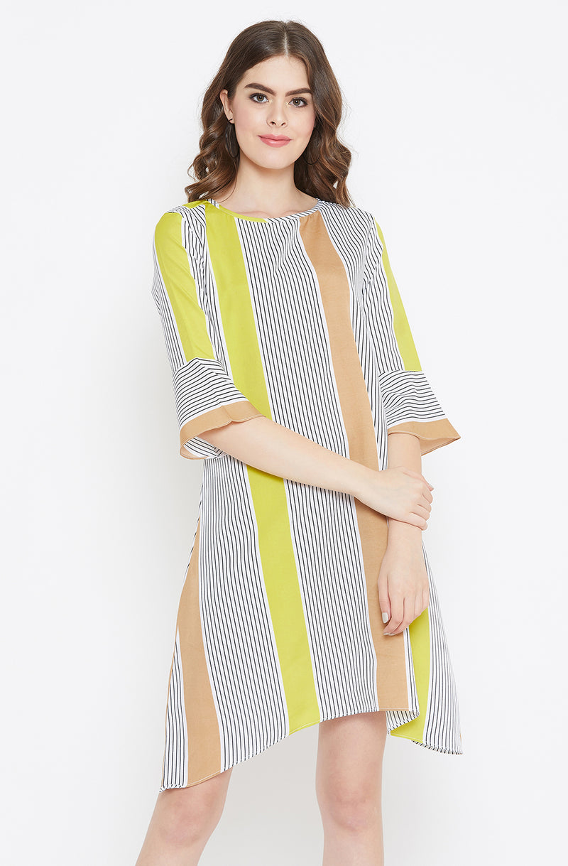 Asymmetric Casual Multi Striped Dress by Afamado