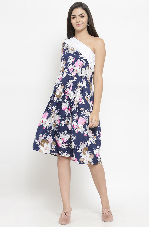 One Off-Shoulder Floral Dress