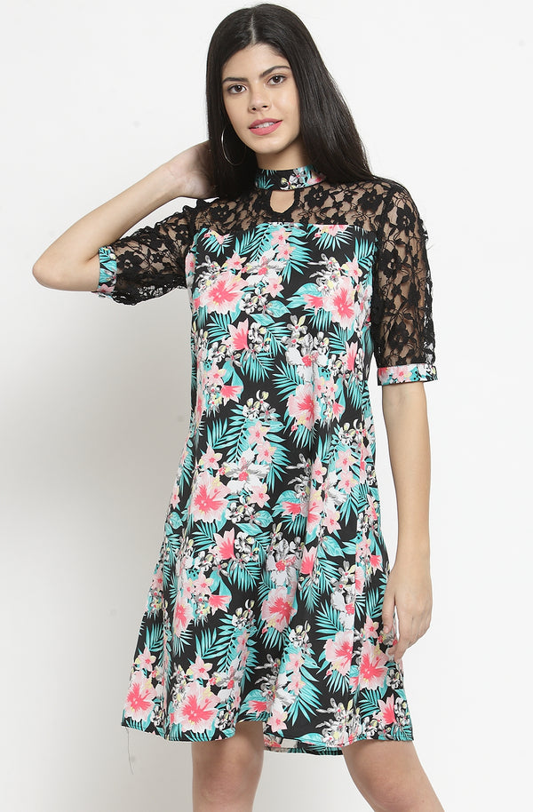 A-Line Dress with Flare Sleeves