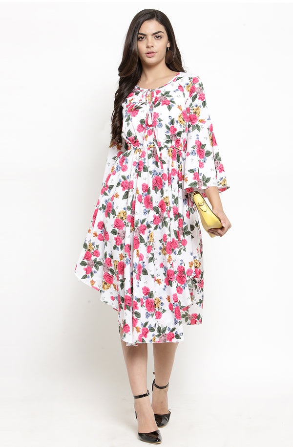 Multi-Color Asymmetric Floral Dress by Afamado