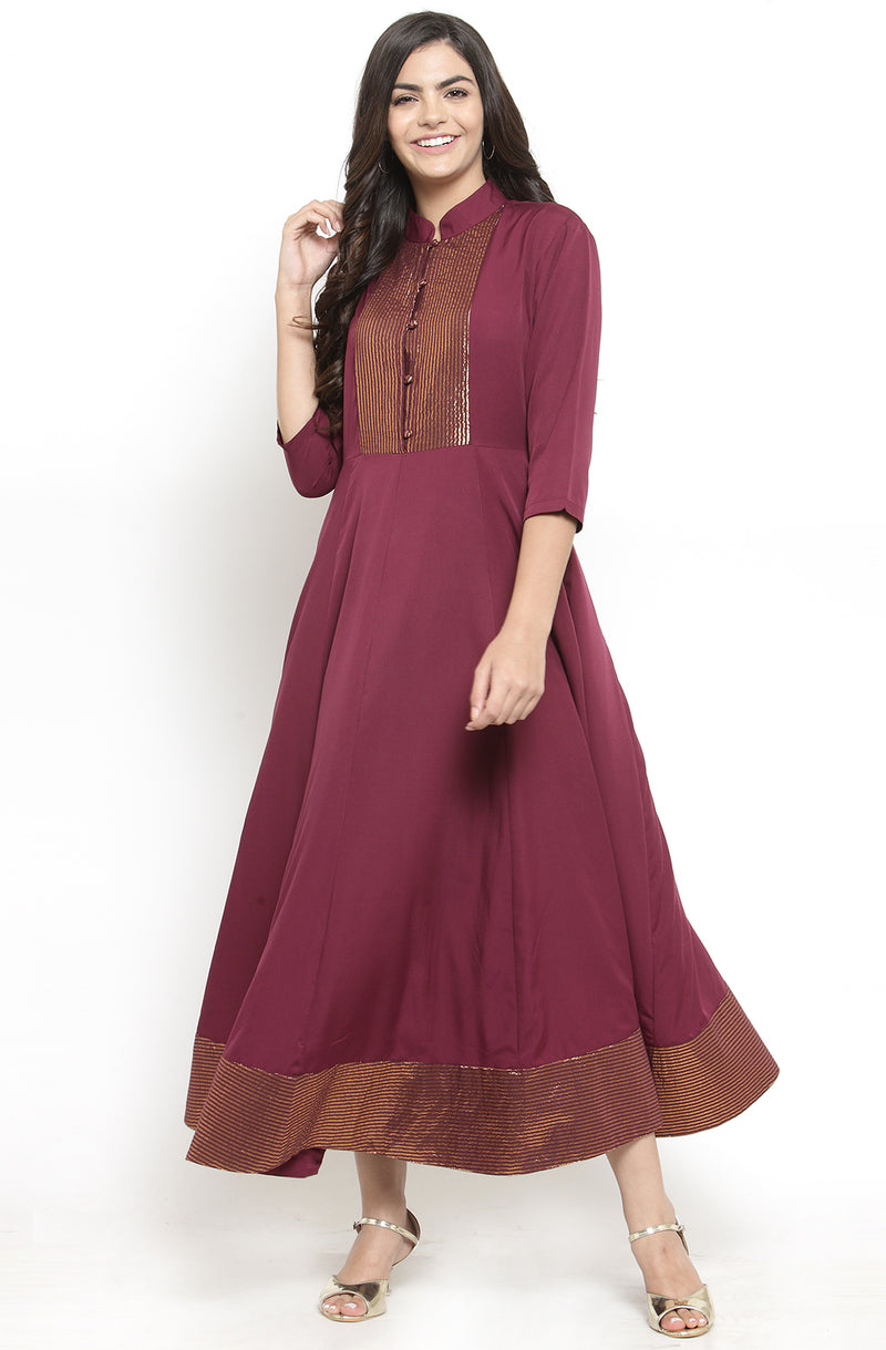 Burgundy Collared Anarkali Dress by Afamado