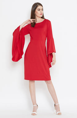 Romantic Red Dress with Flared Sleeves by Afamado
