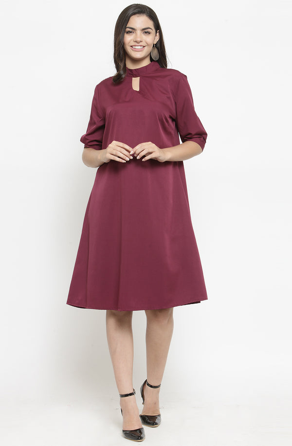 A-line Formal Dress with Mandarin Collar