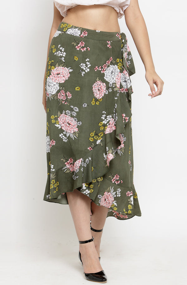 Asymmetrical Floral Ruffled Cotton Skirt by Afamado