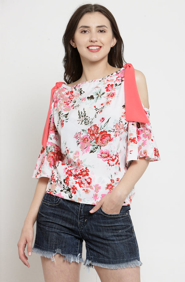 Contrast Sash Floral Cold-Shoulder Top