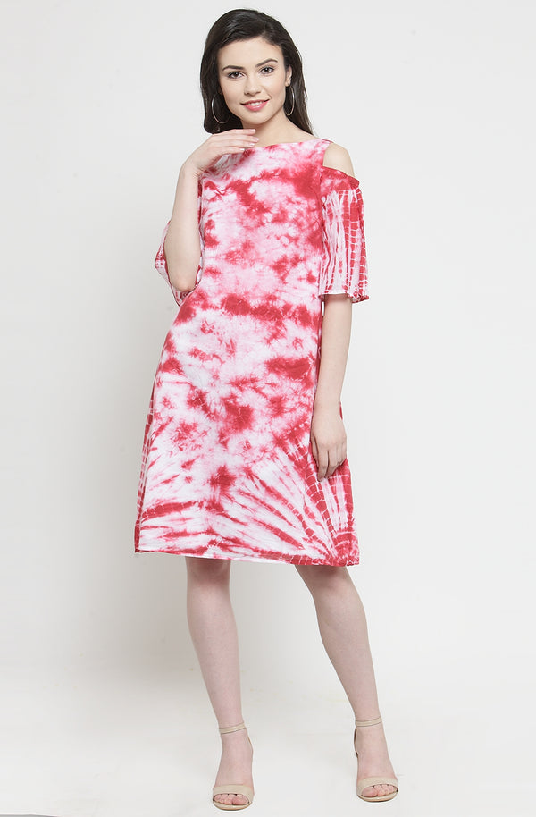 Red Tie Dye Knee Length Dress