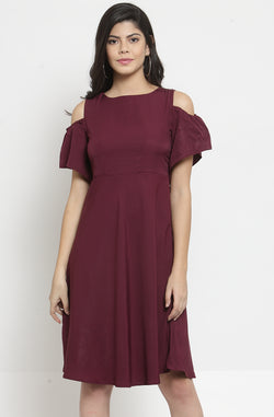 Cold-Shoulder Fit and Flare Party Dress by Afamado