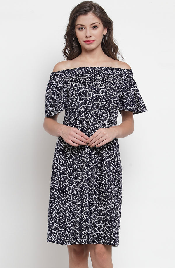 Printed Off-Shoulder A-Line Dress by Afamado