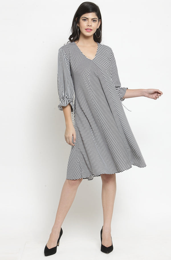 Nautical Stripe Monochrome Casual Dress