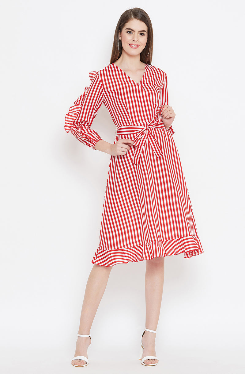 Scarlet Tie-Up Dress with Ruffled Sleeves by Afamado