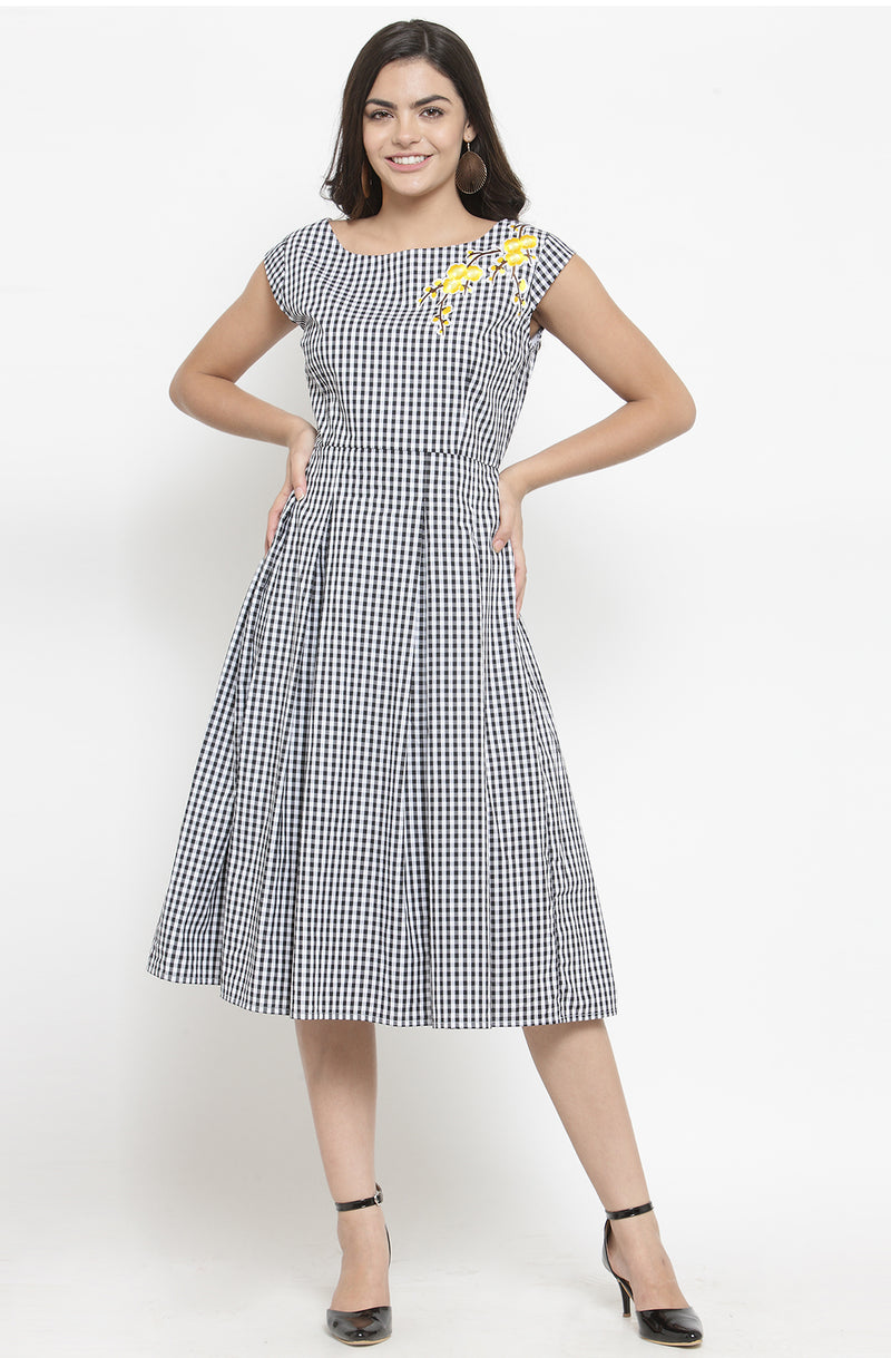 Gingham Floral Patched Dress